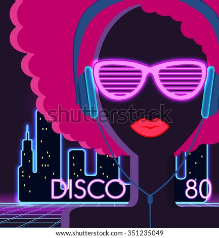Disco 80 S Girl Headphones Party Danceのイラスト素材 351235049