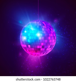 Disco ball with bright rays and bokeh. Music and dance night party background. Abstract night club retro background 80s and 90s. illustration