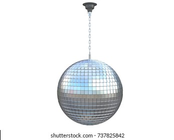 disco ball chrome mirror party of a dance club reflecting roof hanging with a chain 3d rendering