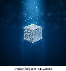 Disco ball cube / 3D illustration of cube shaped glitter ball