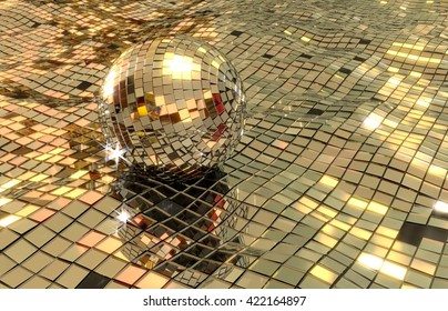 disco ball floating in disco sea 3D render. shiny mirrors in wavy pattern. some floor pieces are missing.