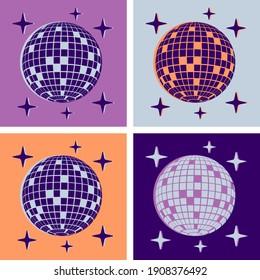 Disco Ball Illustration Pop Art Style