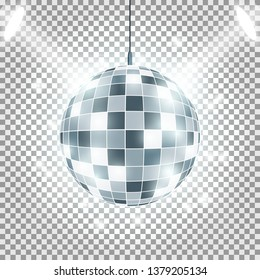 Disco ball with light rays on background. Spotlights Effect. image