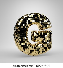 Disco ball uppercase letter G isolated on white background. 3D rendered alphabet. Modern font for dance party banner, poster, design template element.