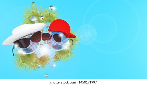 Disco balls in a white hat and a red baseball cap and sunglasses with highlights of light. On a blue background with palm leaves. The concept of a disco or party in a hotel or resort. 3D rendering.