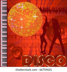 Disco Club Background Dancers Disco Ball Stock Vector