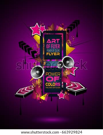 Disco Dance Art Design Poster Abstract Stockillustratie 663929824