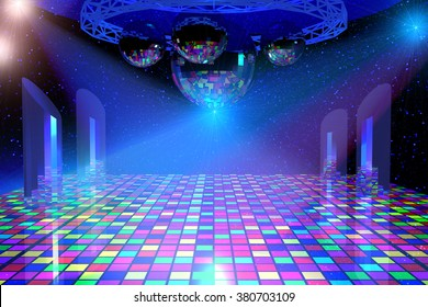 Disco lights background with mirror balls, chrome lattice and shining stars. 3d illustration.