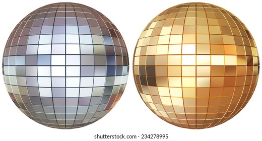 Disco mirrorballs isolated on white