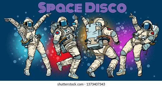 Disco party astronauts dancing men and women. Pop art retro comic book  cartoon hand drawn illustration