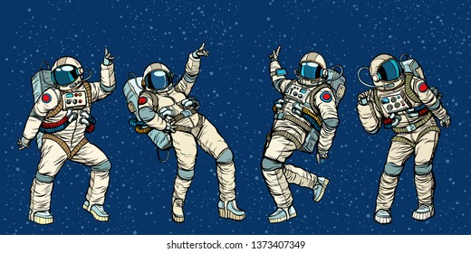 Disco party astronauts dancing men and women. Pop art retro comic book  cartoon hand drawn illustration