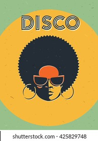 Disco party event flyer. Creative vintage poster. retro style template. Black woman in sunglasses.