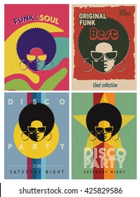 Disco party event flyers set. Collection of the creative vintage posters. retro style template. Black woman in sunglasses.