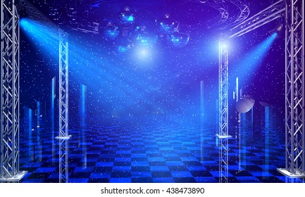 Disco party interior background with blue light rays and chrome scaffold lattice. 3d render
