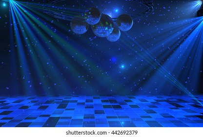 Disco party interior background with blue light rays, mirror balls and dance floor. 3d render