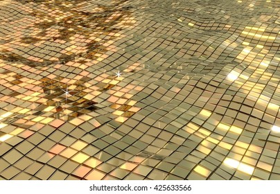 Disco sea. golden mirror waves. 3D illustration of shiny reflection of water background.