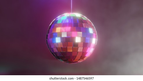 Discoball colorful with glow on smoky dark background. 3D illustration. Have a nice party!