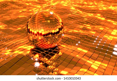 Discoball or mirrorball floating on a mirror ocean in the sunset somewhere on a warm tropical beach, ready for an after party?