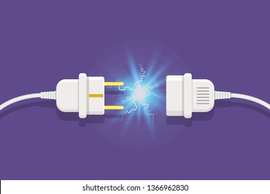 Disconnect Plug with electricity spark.  illustration in flat style