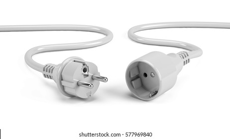 Disconnected Electric plugs isolated on white. 3d render