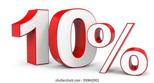 Discount 10 percent off. 3D illustration.