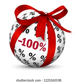 Discount -100% - Free! Present / Gift Sign. Symbol for Give-Away or Gratis Products with 100 (one hundret) Percent Texture. Freebie Symbol For Free Downloads or General Business - 3D Icon Illustration