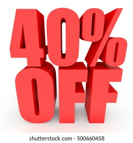Discount 40 percent off. 3D illustration on white background.