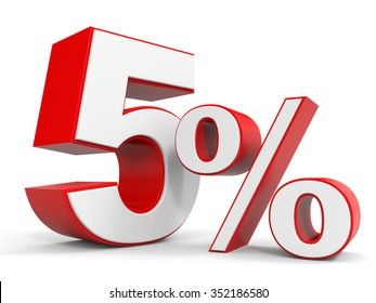 Discount 5 percent off. 3D illustration.