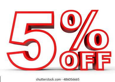Discount 5 percent off. 3D illustration on white background.