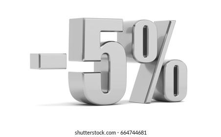 Discount 5 percent off. 3d illustration