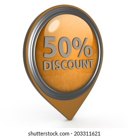 Discount 50 pointer icon on white background