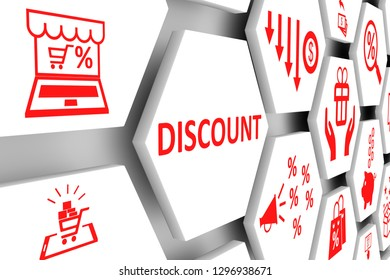 DISCOUNT concept cell background 3d illustration