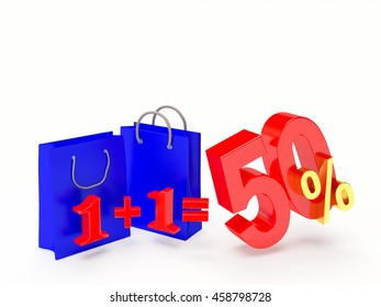 Discount concept. Two shopping bags and 50 percentage isolated on white background. 3D illustration