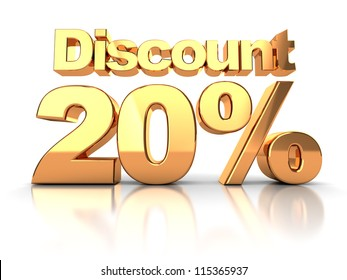 Discount coupon with 20 percent on a white background