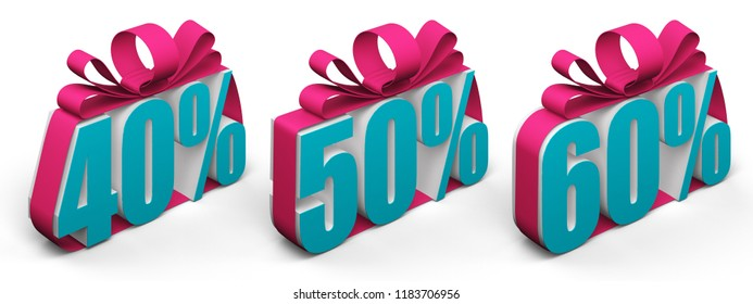 discount digits 40 50 60 tied with a bow. 3d rendering