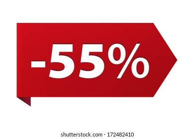 Discount minus 55 percent Banner ribbon red icon isolated on white background. Illustration