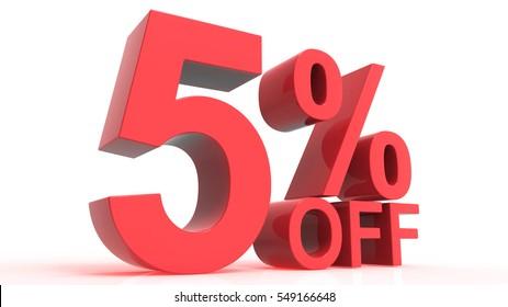 Discount Off 5 Percent 3d render