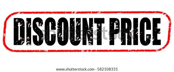 discount price red and black stamp on white background.