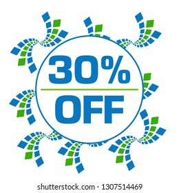 Discount thirty percent off text written over green blue background.