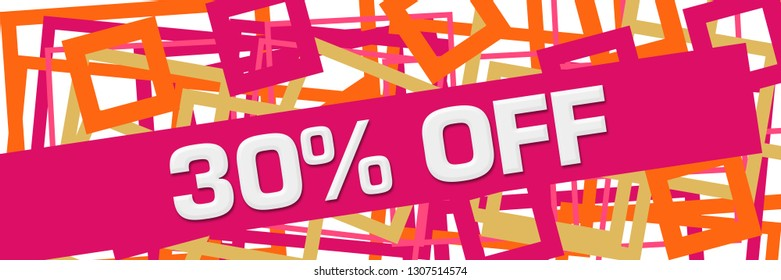 Discount thirty percent off text written over pink orange background.