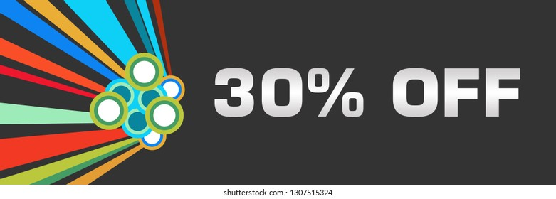 Discount thirty percent off text written over dark colorful background.