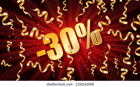 Discount voucher template design with gold confetti tinsel. Raster copy