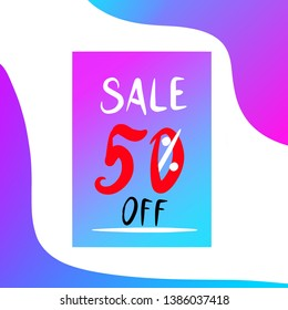 discounts up to 50%.  gradient.  illustration.  template.  blank for printing.  brochure.