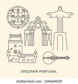 Discover Portugal banner template with icons in line style and place for text. Traditional symbols set with Christ statue, Belem tower, rua Augusta arch, portuguese emblem, the Barcelos rooster