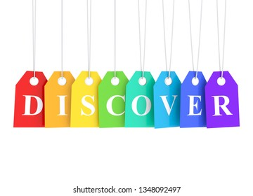 Discover text word on colored hanging labels - discover best deals  3D render
