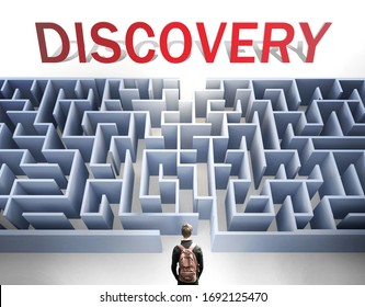 Discovery can be hard to get - pictured as a word Discovery and a maze to symbolize that there is a long and difficult path to achieve and reach Discovery, 3d illustration