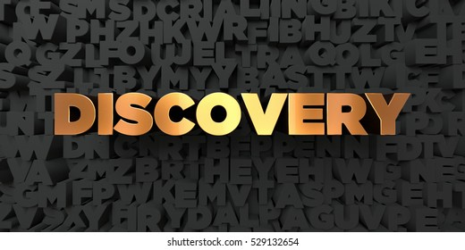 Discovery - Gold text on black background - 3D rendered royalty free stock picture. This image can be used for an online website banner ad or a print postcard.