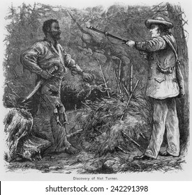 Discovery of Nat Turner (1800-1831), by Benjamin Phipps on October 30, 1831. Turner eluded capture for two months, he was discovered hiding in a cave. Engraving by William Henry Shelton (1840-1890).