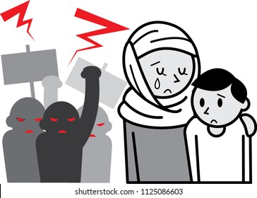 The discrimination against a islamic mother and her son.