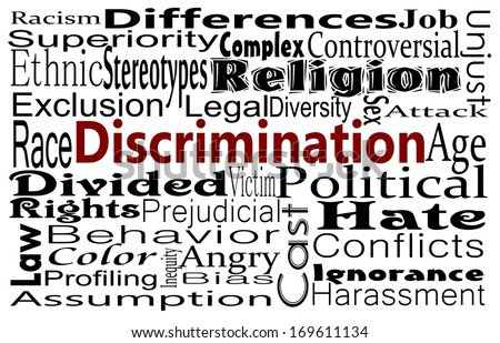 Discrimination and Human differences concept with word cloud. Social Issues